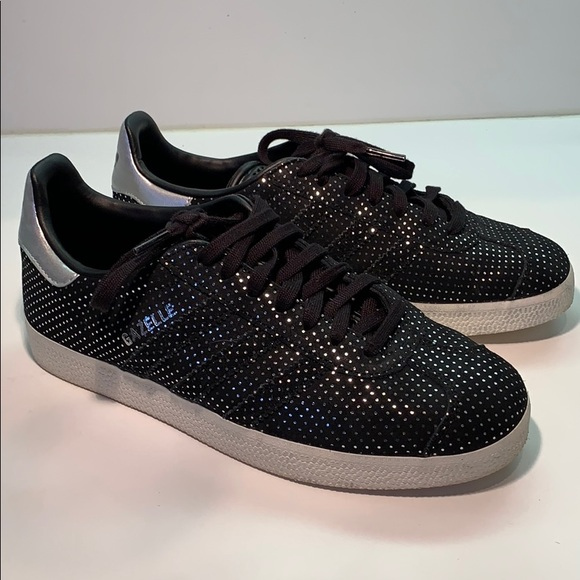 Adidas Gazelles in black suede with silver dots